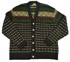 Skjaeveland of Norway L XL Cardigan Wool Sweater Womens Gray Deer Metal Buttons