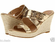 8M SPERRY TOP SIDER MARIS GOLD PYTHON PRINT WEDGE SLIP ON OPEN TOE SHOES