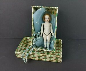 """Antique Mignonette German All Bisque Dollhouse 4"""" Doll Pin Jointed with Box"""