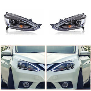 LED Headlight Assembly For Nissan Sentra16-19 LED DRL Replace Factory Headlight