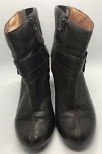 Clarks Size 6 Active Air Dark Brown Leather Heeled Buckle Boots