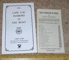 1934 34 CAPE COD DIAMOND 12 Sail Boat Dealer Sales Brochure + Price List NICE!