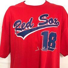 Boston Red Sox Jersey T Shirt Johnny Damon #18 Red Cotton Mens XL