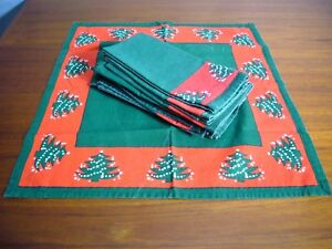 Green Vintage Design Imports Christmas Tree Napkins Set of 5 Waechtersbach INDIA
