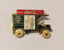 1996 Atlanta Olympic Coca-Cola Paris 1900 Truck Moving Wheels Pin Badge