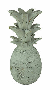 Rustic White Carved Wood Tropical Pineapple Decor Statue