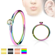 Pair CZ Set Ear Piercing Tragus Rook Snug Helix Daith Nose Hoop IP Rings 20G