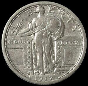 1917 SILVER TYPE II STANDING LIBERTY QUARTER 25C SLQ COIN EXTRA FINE