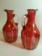 Vintage Ruby Flash 2 Glass Bottles/ Pitchers With Handle Collectible