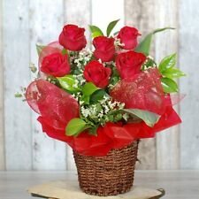 Fresh Flowers Delivery Sydney - Gorgeous Roses in Basket – 6 premium red roses