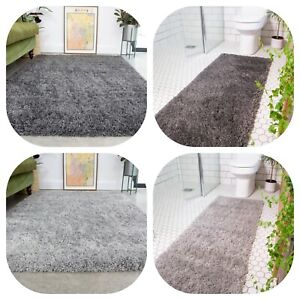 Grey Silver Shaggy Rugs Super Soft Thick Fluffy Bedroom Rugs Hallway Carpet Mats