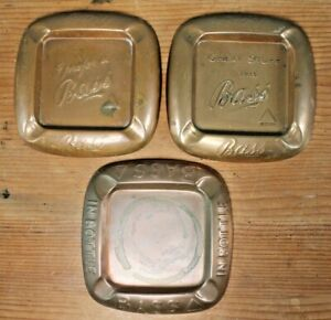 Collection of 3 Vintage Antique Bass Brewery Copper Ashtrays Pub Bar Advertising