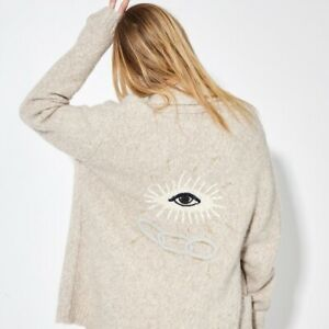 Raquel Allegra oatmeal embroidered friendship truth love cardigan sweater $738