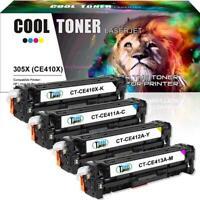 Set 4 New CE410X CE411A CE412A CE413A Toner Cartridges Compatible HP 305X 305A