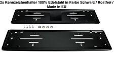 2x Kennzeichenhalter Nummernschildhalter Edelstahl Black Schwarz Rostfrei (52