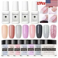 12Pcs/Set NICOLE DIARY Glitter Dipping Powder Nail Art Dip Liquid Starter Kit
