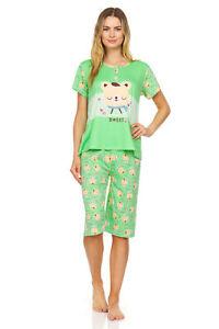 5028C Women Capri Set Sleepwear Pajamas Woman Sleep Nightshirt