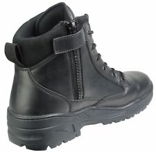 Black Full Leather Army Patrol Combat Mid Boots SIDE ZIP Security Military 917