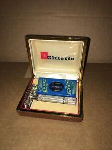 Vintage Gillette Razor, Case and Blue Blade Dispenser