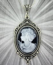 VINTAGE STYLE CAMEO PENDANT, NECKLACE in STERLING SILVER PLATED SETTING