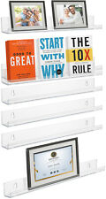 3/6-Pack Floating Wall Shelves - Acrylic Picture Ledge w/ Lip for Photo's/Frames