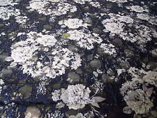 PRINTED FLORAL STRETCH  LACE-NAVY/IVORY/GREY-DRESS FABRIC-FREE P&P
