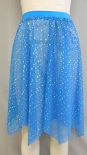 TURQUOIS/TEAL+SLV SEQUIN MESH HANDKERCHIEF DANCE COSTUME SKIRT-Size ADULT SIZE M