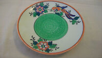 VINTAGE JAPANESE HAND PAINTED SMALL DINNER PLATE, MULTICOLORED BIRD & FLOWER