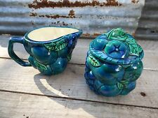 VTG CREAM & SUGAR SET/ CERAMIC CREAM & SUGAR W FRUIT/ MID-C TURQUOISE AQUA BLUE