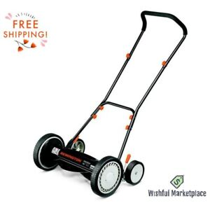 """16"""" Blades Reel Push Mower Quiet 9 Different Heights & Easy Handle Free Shipping"""