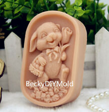 1pcs Mum Rabbit (zx186) Food Grade Silicone Handmade Soap Mold Crafts DIY Mould
