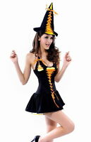 Sexy Ladies Black & Orange Witch Costume Halloween Fancy Dress