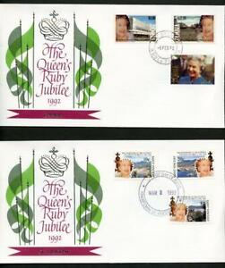 OMNIBUS COLLECTION OF 1992 RUBY JUBILEE OF QUEEN ELIZABETH II FIRST DAY COVERS