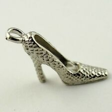 09444 Antique Style Silver Tone Alloy High Heeled Shoe Pendant Finding 70pcs