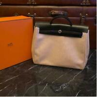 HERMES HER BAG MM Hand Bag Canvas Leather Black Square B Used