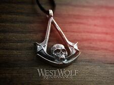 Assassin's Creed Skull Symbol Pendant - 925 Silver -- Black Flag/Pirate/Order