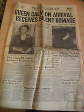 OLD VINTAGE ORIG NEWSPAPER 1950s TORONTO TELEGRAM 7 FEB 1952 KING GEORGE VI