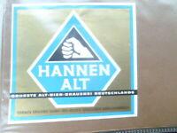 HANNEN BREWERY  HAND TRADEMARK HANNEN ALT  GERMAN BEER LABEL UNUSED