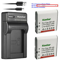 Kastar Battery Slim Charger for Casio NP-40 & Casio Exilim Zoom EX-Z200 Camera