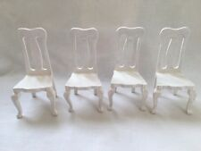 1:12 Scale White Wooden Kitchen Dining Room Chair x 4 Dolls House Furniture