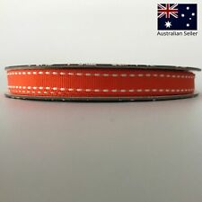 Grosgrain Ribbon 9mm wide 20m ROLL Orange with Saddle Stitch - Craft Bows Gifts