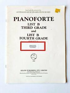 Pianoforte List B, Third & Fourth Grade, A.M.E.B book