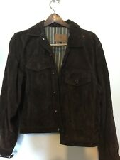 The Territory Ahead Mens Small Suede Leather Jacket Brown Blanket Lined Button