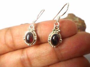 Red Oval  GARNET  Gemstone   Sterling  Silver  925  Earrings  -  Gift  boxed