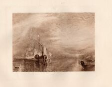 """Powerful William TURNER 1800s Etching """"The 98-gun ship Temeraire"""" Framed COA WOW"""