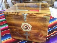 Trading Box Chest  Wood Knife & Cross Carving Camiping FCF