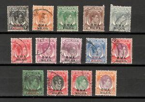 Malaya BMA Overprint 1945 Definitives Fine Used Set 1c - $5