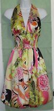 "GORGEOUS Cache ""Tropical Blooms"" Silk Halter Dress- Size 2"