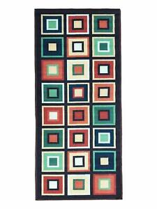 Anti Skid Backing Multicolour Geometric Bedside Runner Of Nylon, 22 x 55 inches