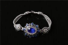 Green Blue Round Oval Rhinestone Silver Plated Lady Girl Flower Bracelet Jewelry